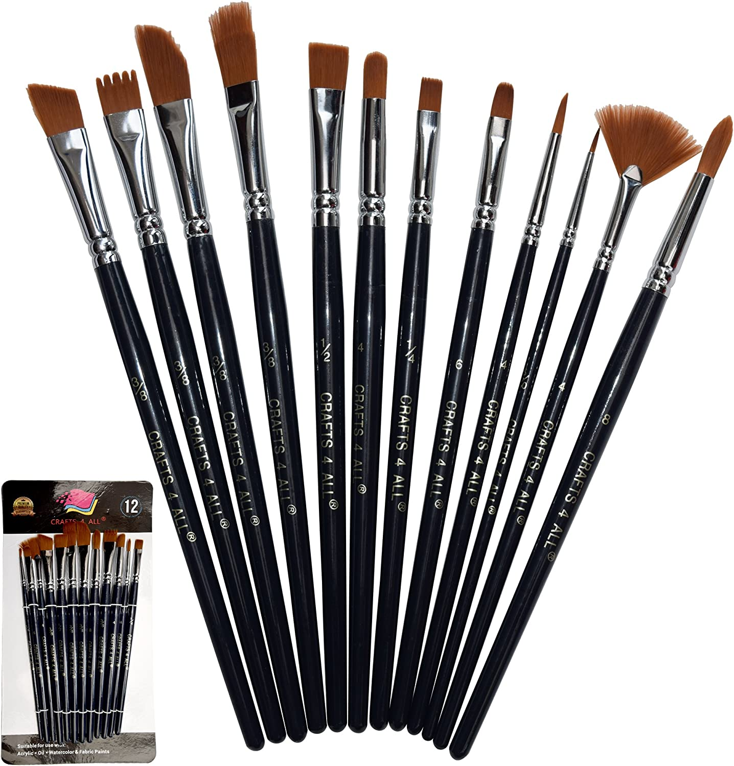 Paint Brushes 12 Set Professional Paint Brush Round Pointed Tip Nylon Hair Artist Acrylic Brush For Acrylic Watercolor Oil Painting By Crafts 4 All