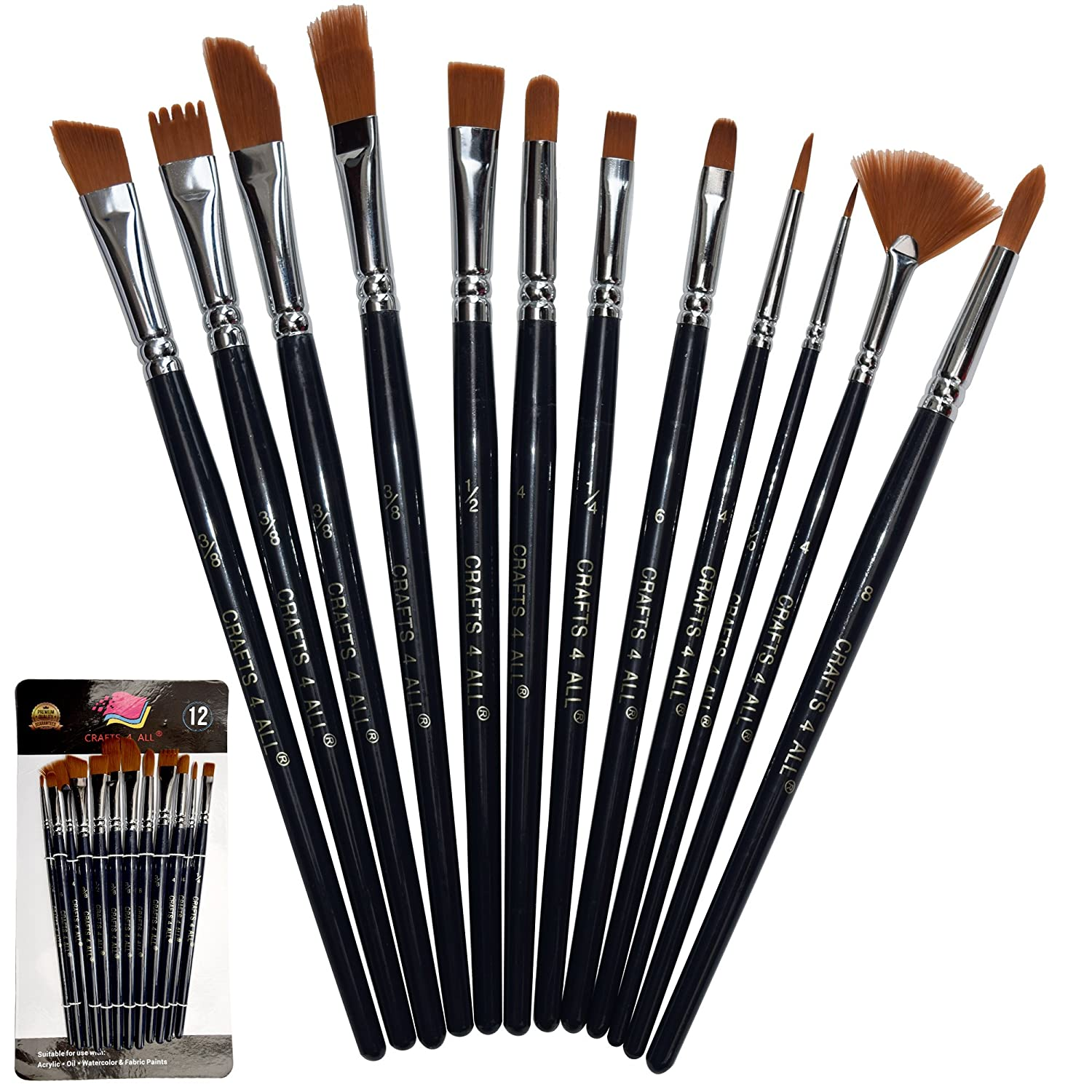 Paint Brushes Set 10 Pieces Professional Fine Tip Paint Brush Set Round Pointed Tip Nylon Hair Artist Acrylic Paints Brush for Watercolor Oil Painting by Crafts 4 All (10) paint brush 10 set