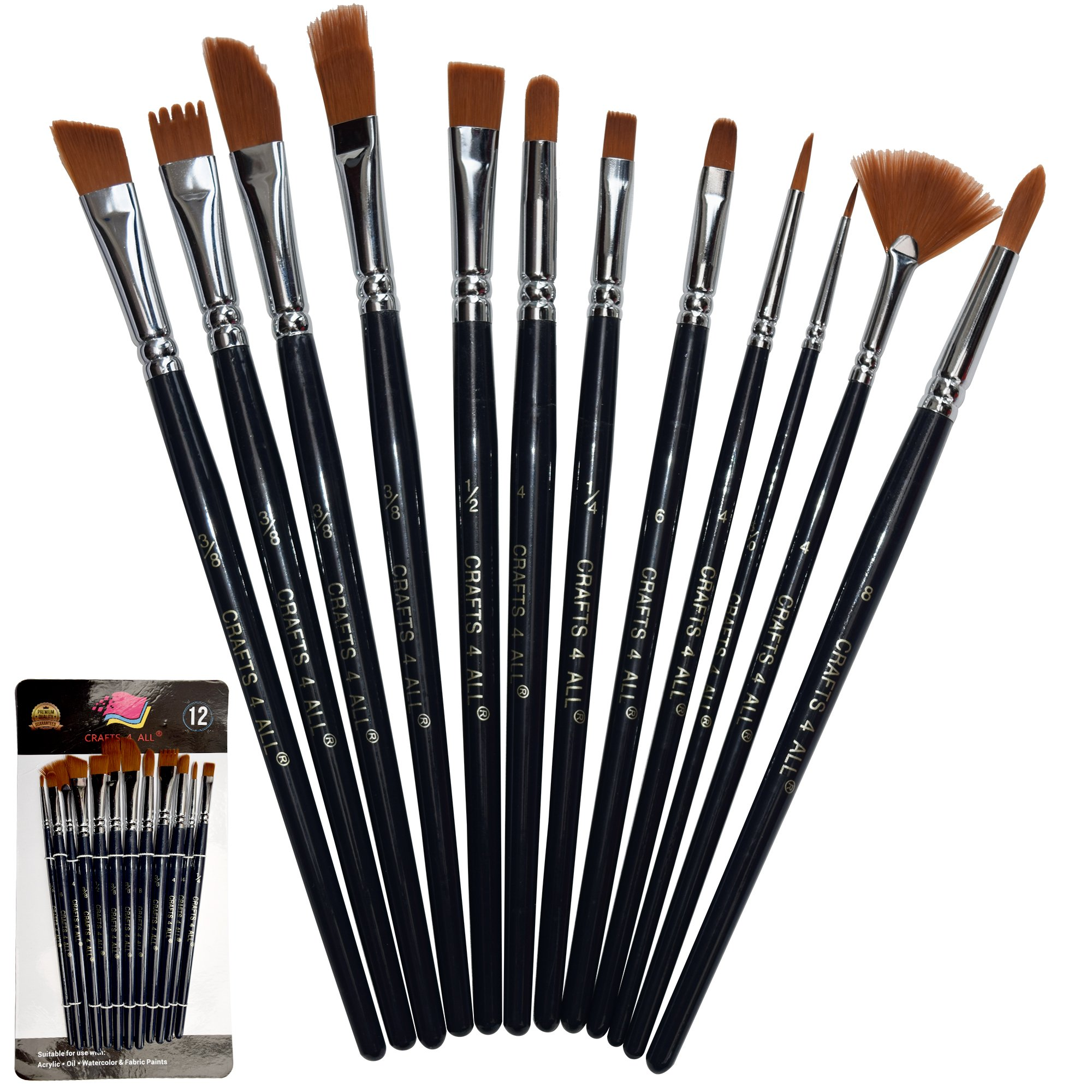 prodigious Paint The Night Paintbrush Part - 18: Paint Brushes 12 Set Professional Paint Brush Round Pointed Tip Nylon Hair  Artist Acrylic Brush for Acrylic Watercolor Oil Painting by Crafts 4 ALL