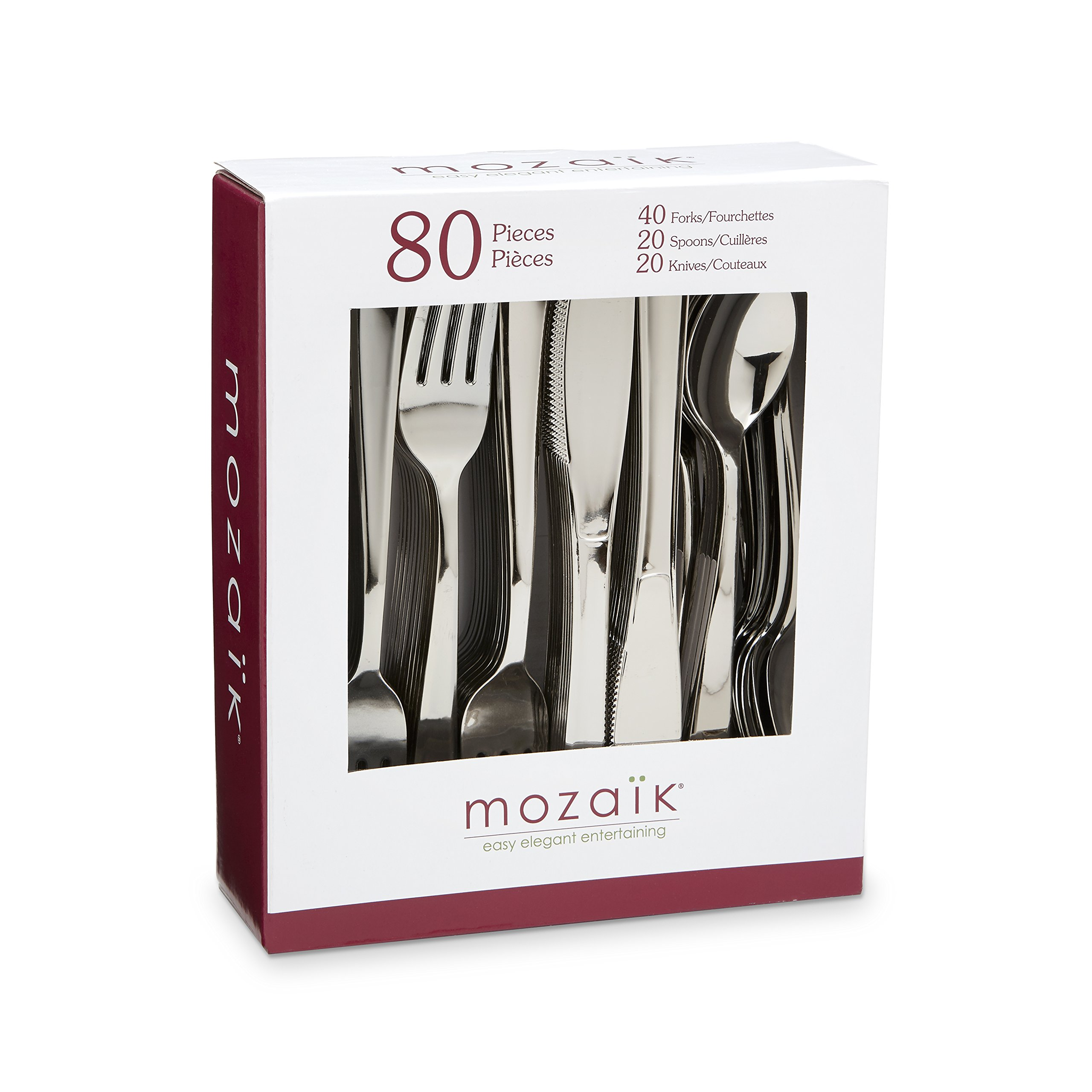 Mozaik Premium Plastic Classic Stainless Steel Coated Assorted Cutlery, 80 pieces