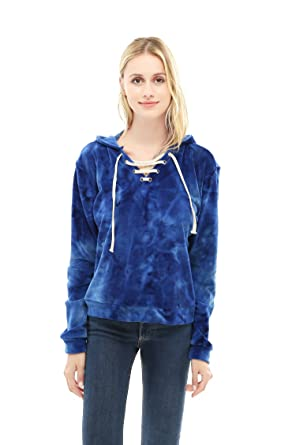 2f4e0c940f Hoodie For Women Tie Dye Velvet Pullover Lace Up Front Long Sleeve  Sweatshirt (Small