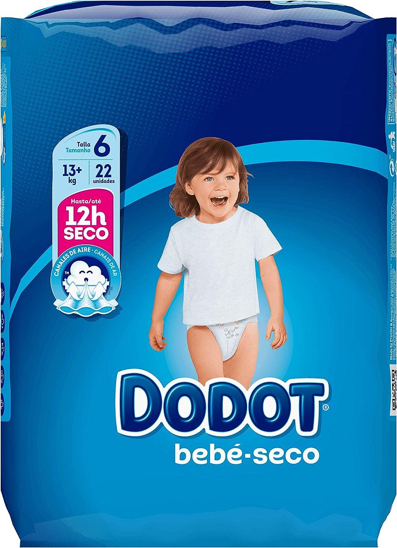 Dodot Bebé-Seco Pañales Talla 6, con Canales de Aire, 13+ kg - 22 Pañales: Amazon.es: Bebé
