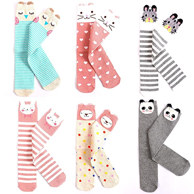 a5e3643c01f EIAY Shop Kids Cotton Socks Knee High Stockings Cute Cartoon Animals for  3-8 Year