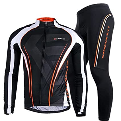 b0506b3be Sponeed Men s Bike Jersey and Pants Set Bicycle Clothing Fall Winter Biking  Shirts Full Zip Suit
