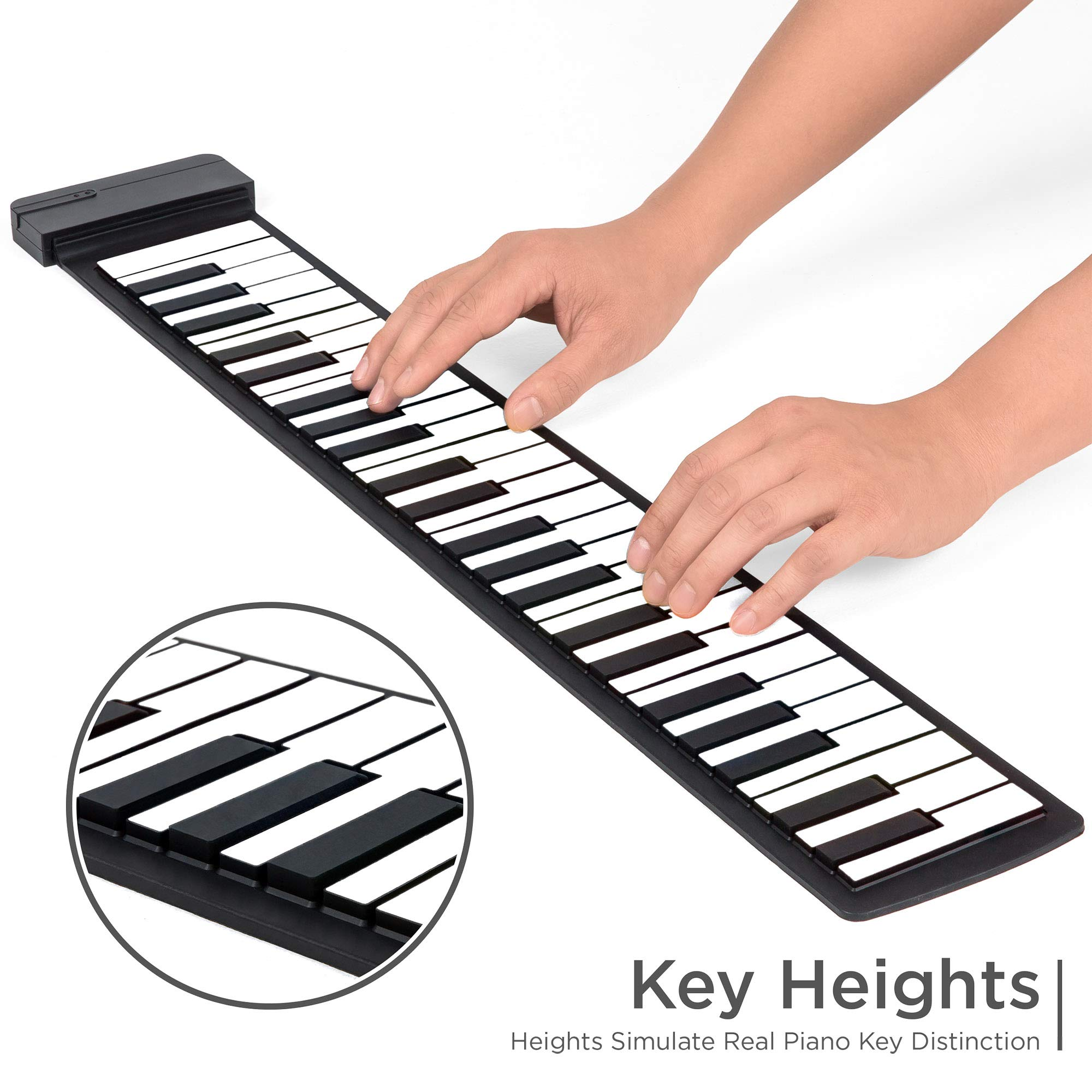 Best Choice Products Kids 49-Key Portable Flexible Roll-Up Piano Keyboard Musical Educational Toy Instrument w/Learn-To-Play App Game, Bluetooth Phone Pairing, Note Labels, USB Charging - White by Best Choice Products (Image #4)