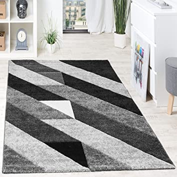 Paco Home Tapis Design Rayures Diagonale Triangulaires 3D Noir Blanc ...