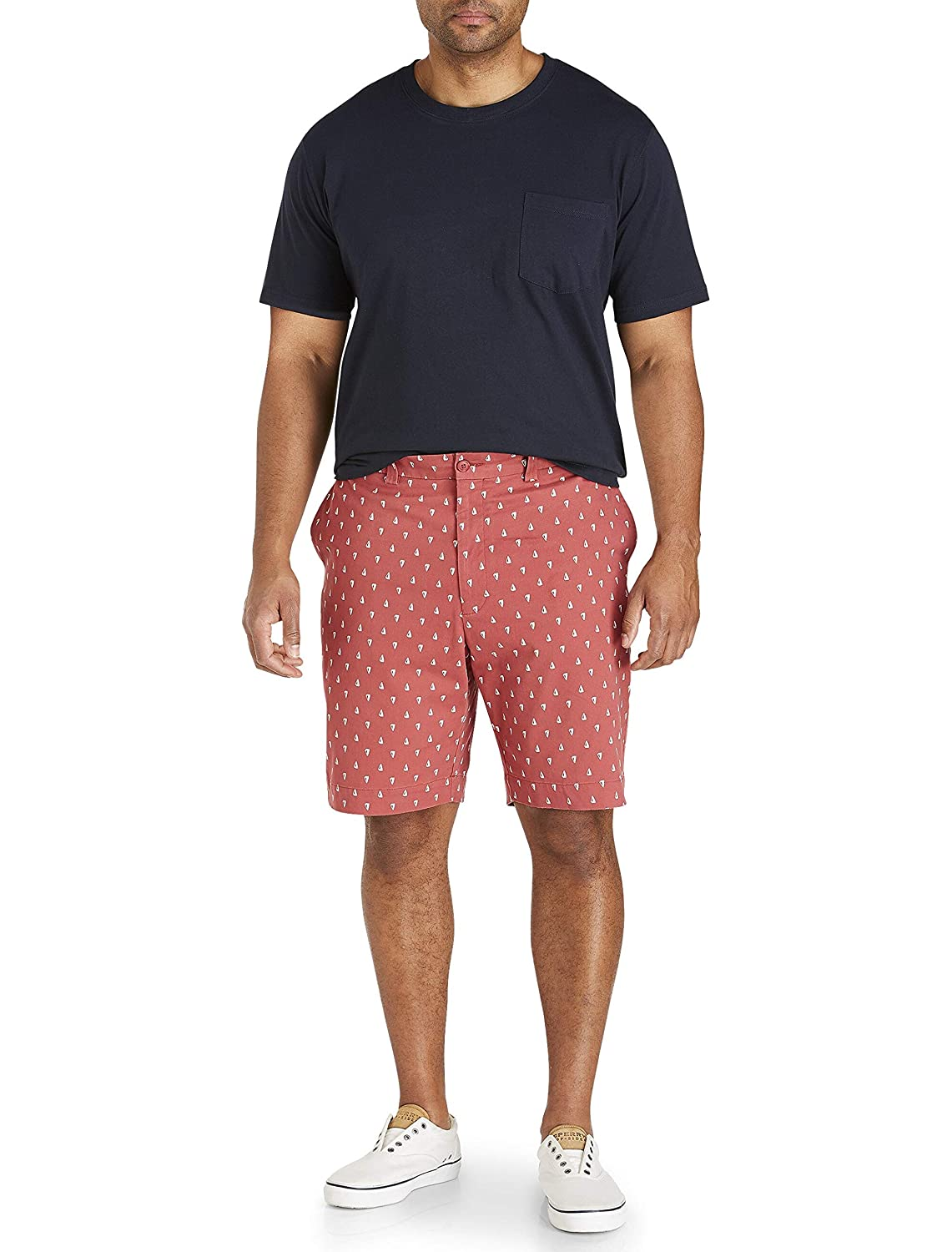 Oak Hill by DXL Big and Tall Sailboat Pattern Stretch Shorts Nantucket Red