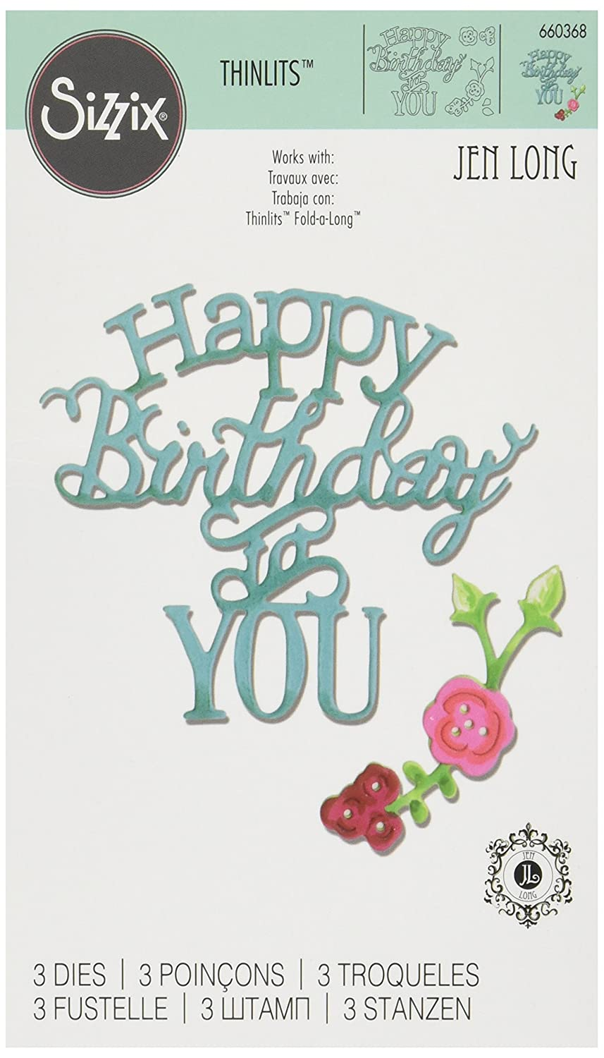 Sizzix 660368 Thinlits Happy Birthday to You by Jen Phrase Dies Ellison