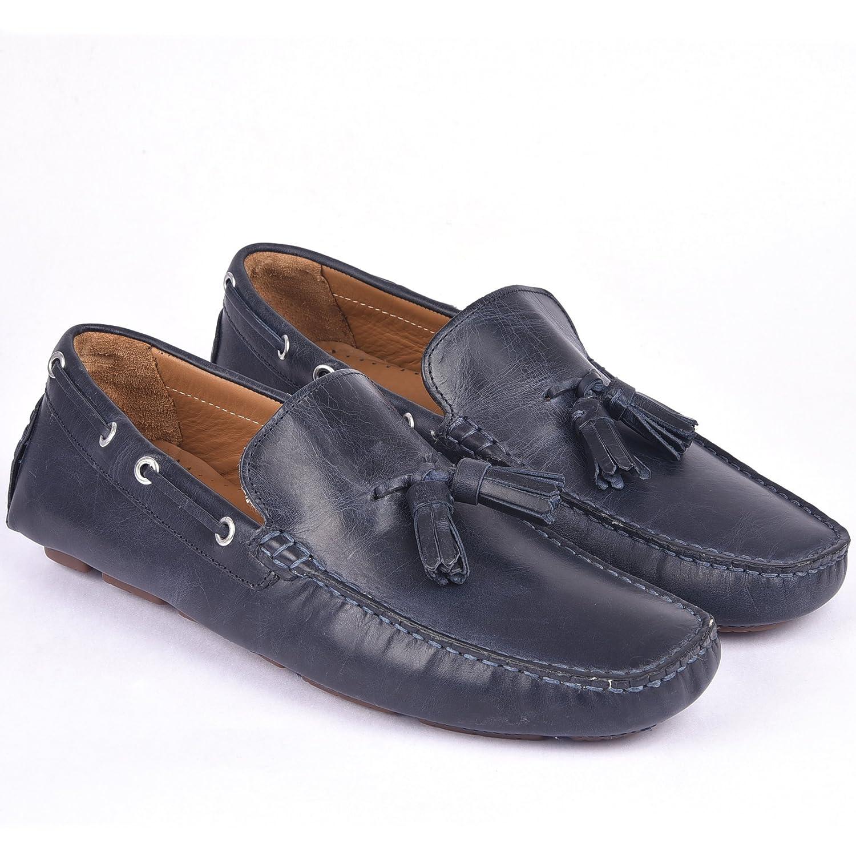 Classe Italiana Romain Navy Leather Loafers