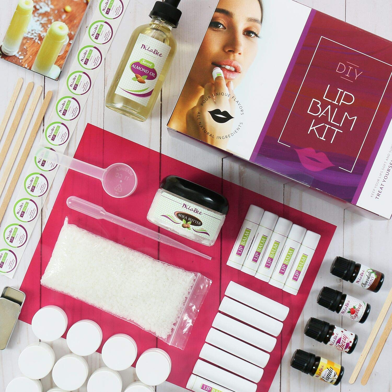 Lip Balm Making Kit | Supplies, Instructions, Labels for 25 Lush Lip Balms - All Natural Formula With Beeswax, Shea Butter, Almond Oil+ 4 Rich Flavors | Best Mother's Day Gift & Craft Kit For Adults