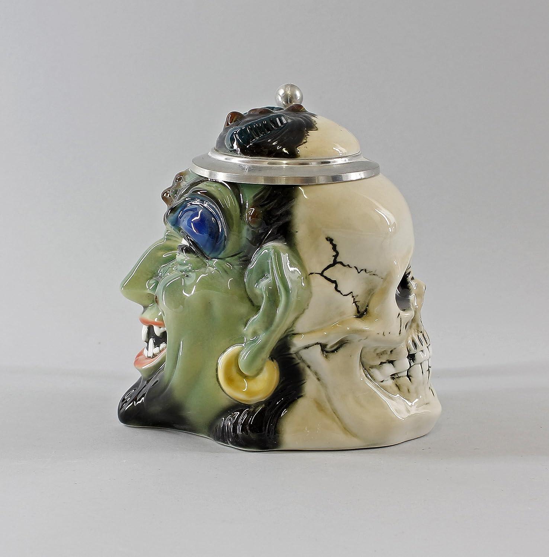 ENS Porzellan Bierkrug Doppelgesicht Totenkopf Teufel grün
