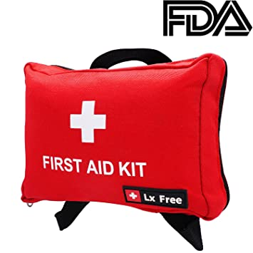 Lx Free Mini First Aid Kit - (100 Pieces) Compact Emergency Bag for Car