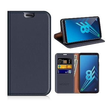 Funda Samsung Galaxy A8 2018, Mobesv Funda Cuero, Carcasa en libro, Ranuras para Tarjetas, Soporte Para Samsung Galaxy A8 2018 - Azul Oscuro