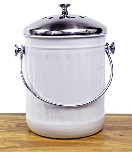 Beautiful Indoor Kitchen Stainless Steel Compost Bin U2013 White U2013 1.2 Gallon Container  With Double Charcoal Filter
