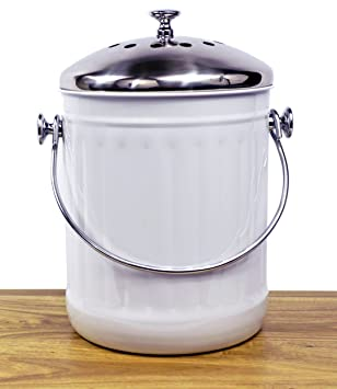 misc home indoor kitchen non stick stainless steel compost bin 12 gallon container with double