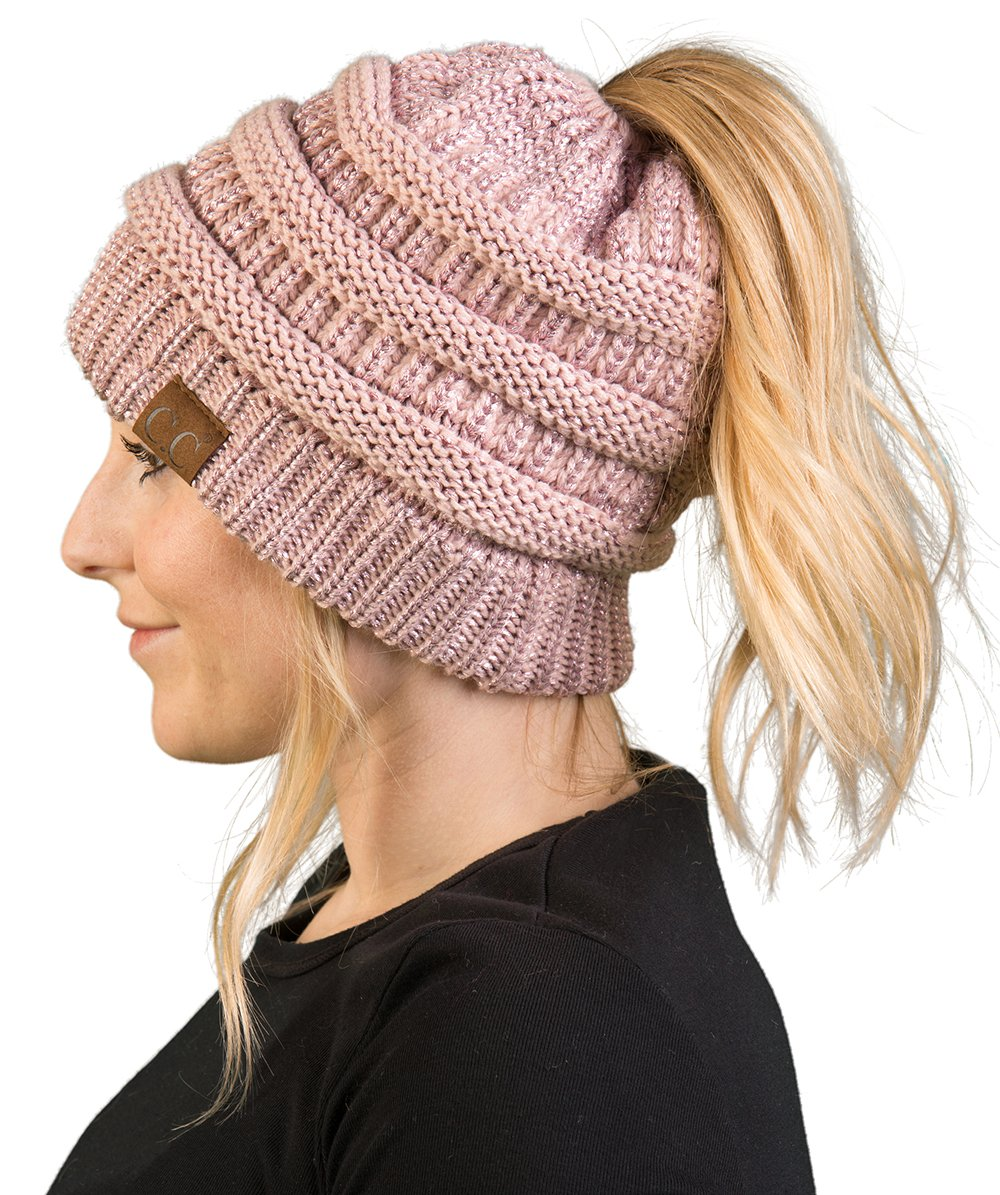 a34ec6f965b5b BT-6020a-9065 Messy Bun Womens Winter Knit Hat Beanie Tail - Rose (Metallic)