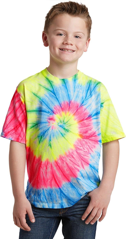 Port /& Company Youth Essential Tie Dye Crewneck T-Shirt/_Neon Rainbow