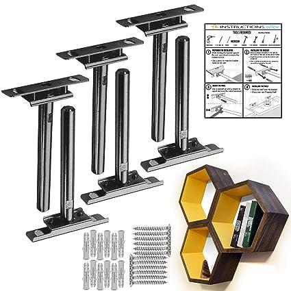 Ovillow Invisible Floating Shelf Hardware Brackets Pack Of 6 Adjustable Wall Mounted Floating Shelf Brackets Heavy Duty Blind Shelf Supports