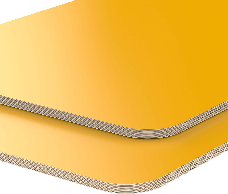 AUPROTEC Tischplatte 18mm gelb 1600 mm x 700 mm rechteckige Multiplexplatte melaminbeschichtet von 40cm-200cm ausw/ählbar Ecken Radius 100mm Birken-Sperrholzplatten Auswahl 160x70 cm