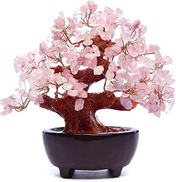 Hapileap 6 Zoll Feng Shui Aventurin Quarz Edelstein Geld Baum Natürlichen Grünen Kristall Geld Baum Büro Wohnzimmer Wiel Glück Dekoration Pink Küche Haushalt