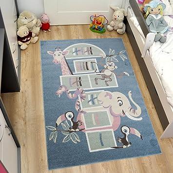 TAPISO Tapis Chambre Des Enfants Salon Moderne   Motif Jeu De Marelle    Animaux Eléphant Giraffe