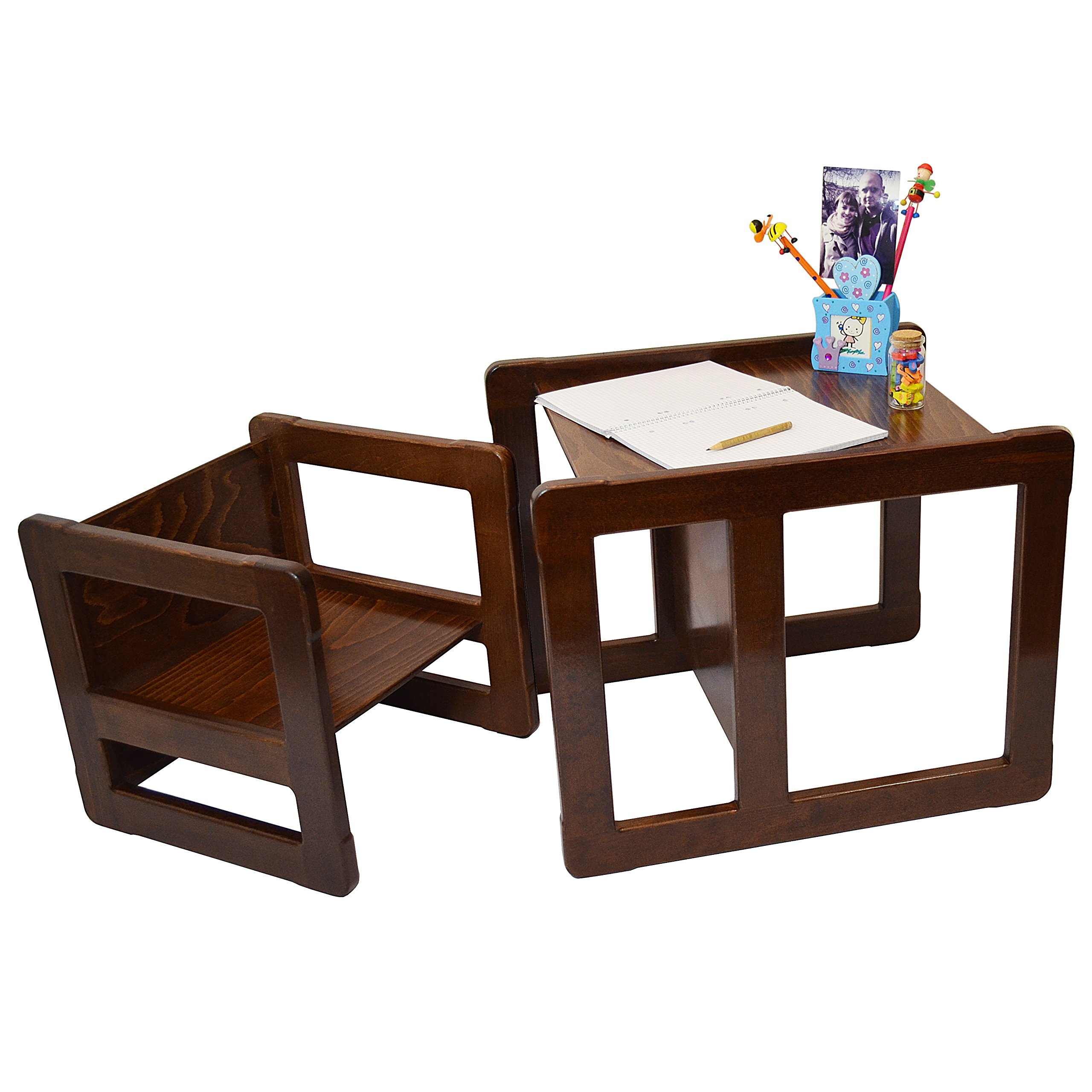 3 in 1 Childrens Multifunctional Furniture Set of 2, One Small Chair or Table and One Large Chair or Table Beech Wood, Dark Stained
