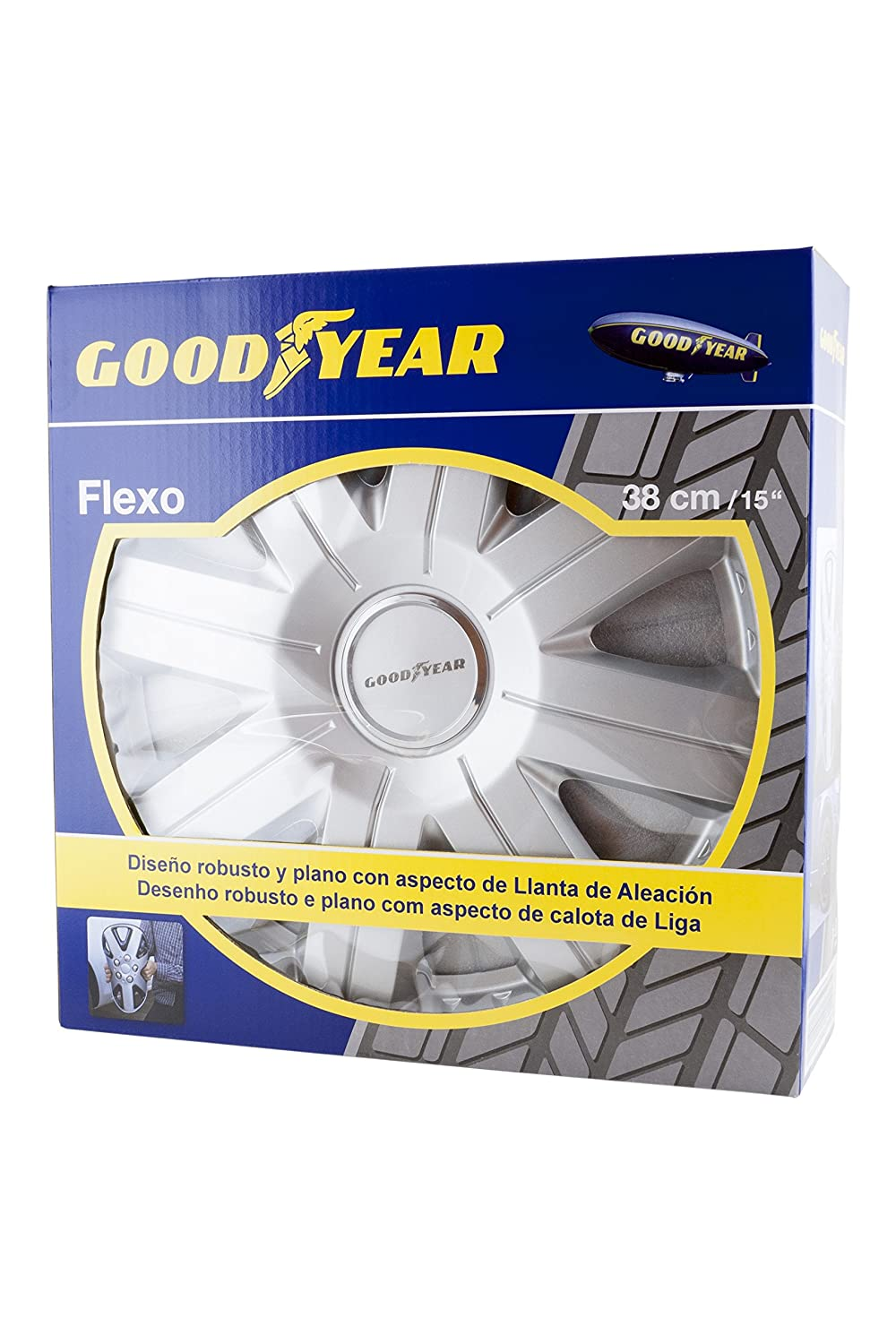 Good Year GOD9028 - Set de 4 Tapacubos Flexo 20, Plata, 15 Pulgadas: Amazon.es: Coche y moto