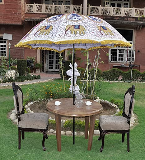 Lalhaveli Handmade Elephant Embroidered Design Cotton Sun Protection Umbrella 52 X 72 Inches