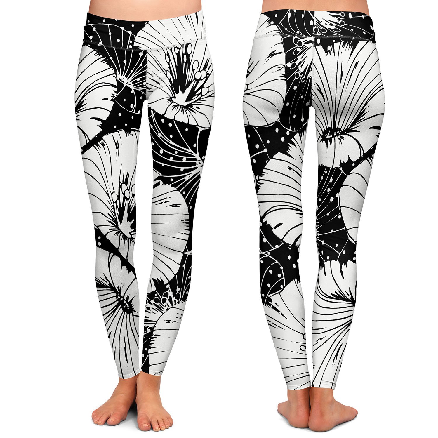 Athletic Yoga Leggings from DiaNoche Designs by Zara Martina Black White Flowers