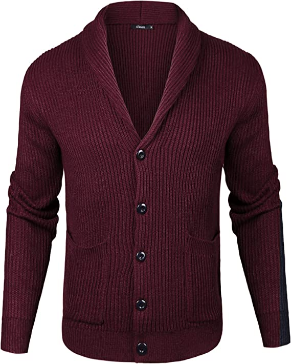Men's Vintage Sweaters, Retro Jumpers 1920s to 1980s iClosam Mens Slim Fit Knitted Button Down Collar Cardigan Sweater with Ribbing Edge $39.99 AT vintagedancer.com