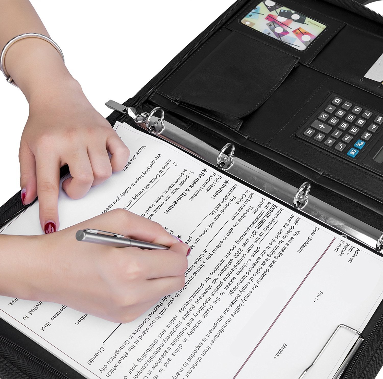Carpeta Maletín A4 con Calculadora/Carpeta Bloc de Notas Carpeta/Organizador Carpeta Maletín Cuero de PU con Corchete para el hogar Negocios Oficina ...