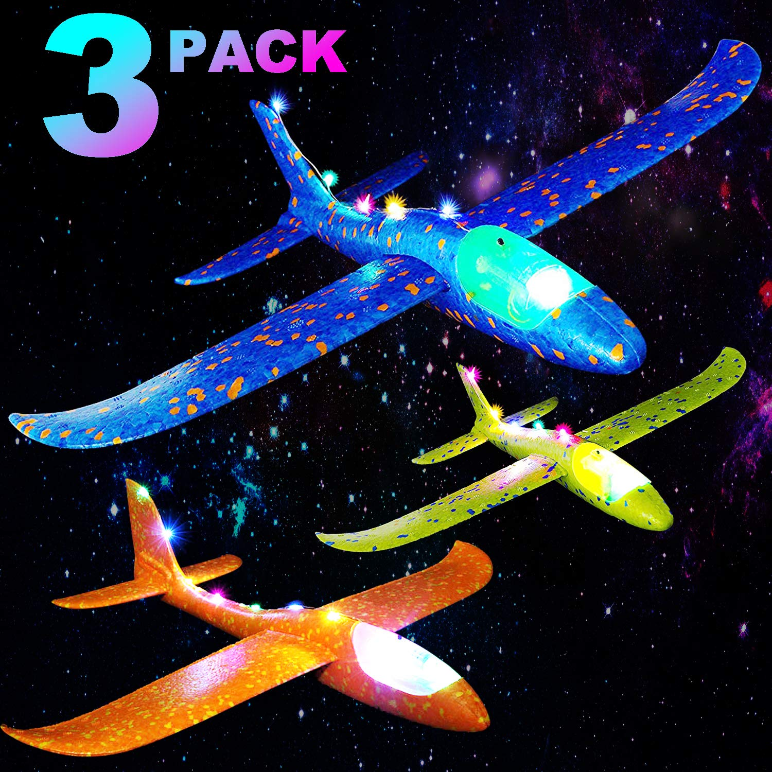 Set of 3 Light Up Airplane Toys for Kids 13.6 INCH Large Throwing Foam Plane Glider for Boys Girls Birthday Gift Glow in The Dark Outdoor Sport Flying Game Toy for 3 4 5 6 7 Year Old Toddlers Teens