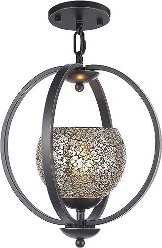 Woodbridge Lighting 13923MEB-M00MIR Geo 1-Light Mid Pendant, Metallic Bronze
