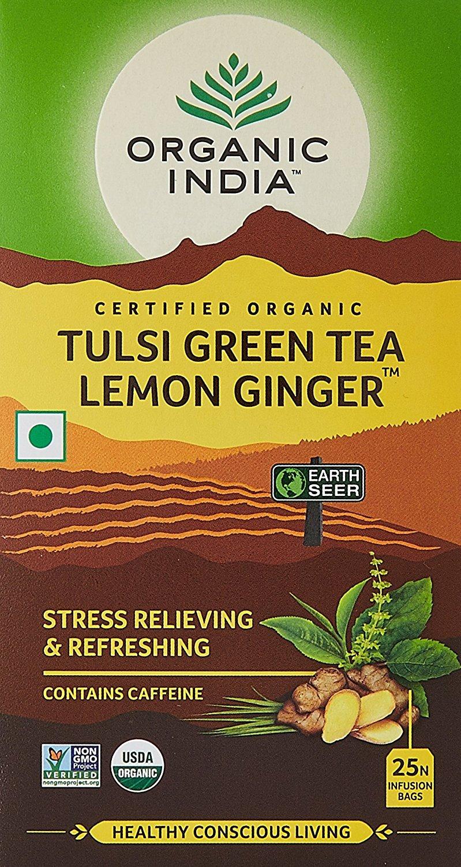 Organic India Tulsi Green Tea Lemon Ginger 25 Tea Bags