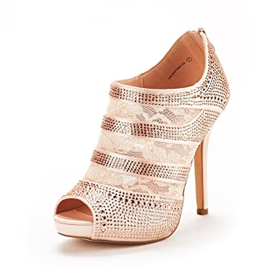 3bb38a8920 DREAM PAIRS Women's Valentine-02 Champagne Satin Fashion Dress High Heel  Peep Toe Wedding Pumps