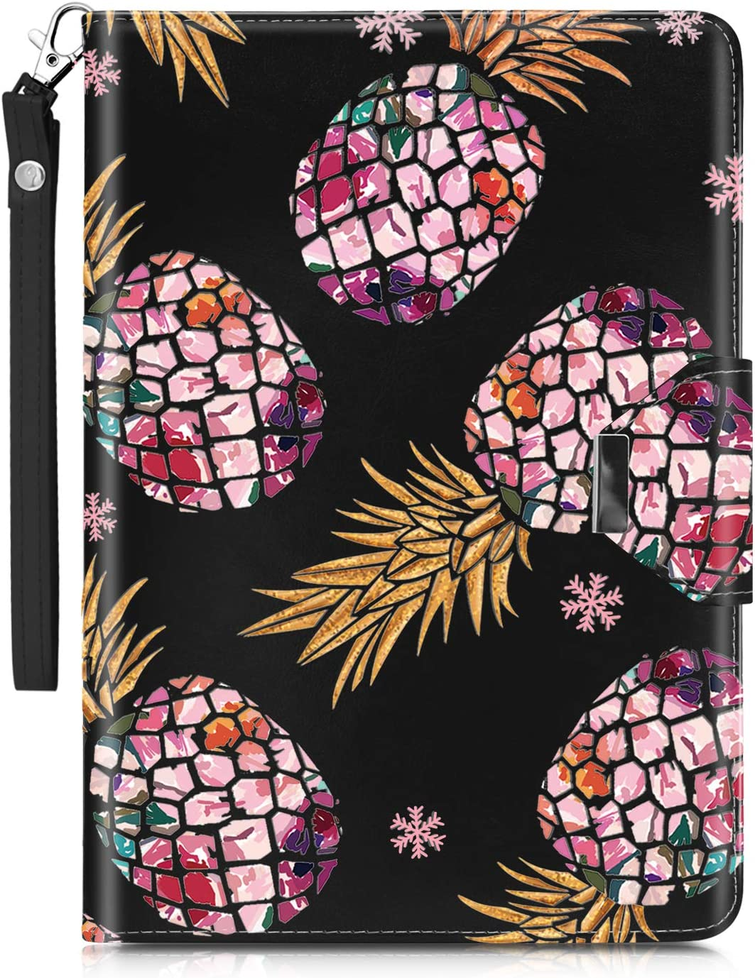 Dailylux New iPad 9.7 inch 2018/2017 Case,Multiple Angles Slim Stand Heavy Duty PU Leather Cover with Card Slots Protective Case for Apple iPad 9.7 inch w/Auto Sleep Wake-Pineapple Black