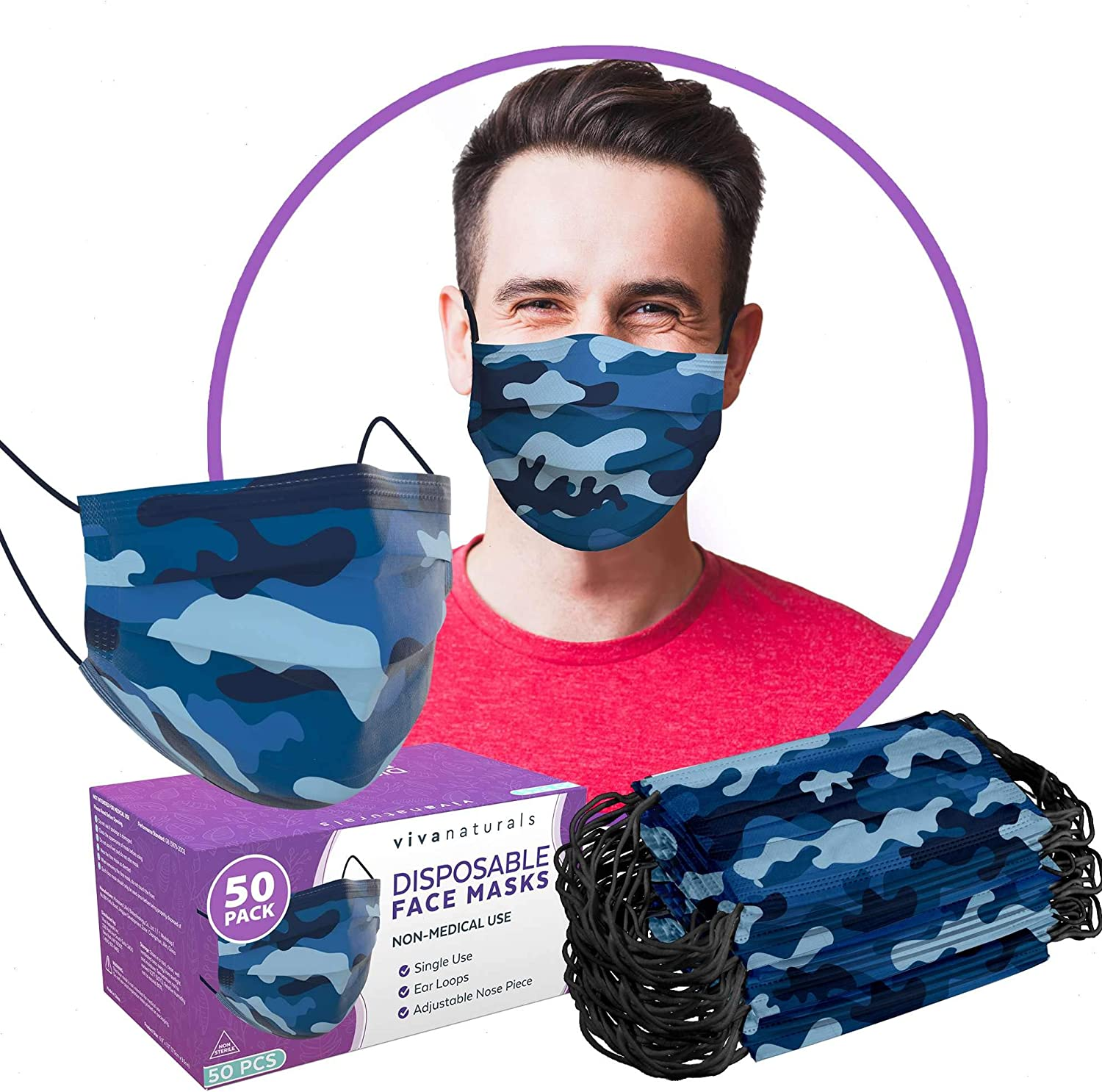 Camo Face Mask for Men (50 Pack) - Premium 3-Ply Disposable Mens Face Mask with Comfortable Earloops & Adjustable Metal Nose Strip