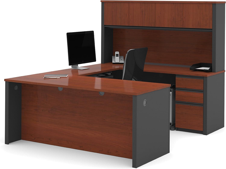 Bestar Office Furniture Prestige Plus Collection Reversible U-Desk with Hutch, Bordeaux Cherry