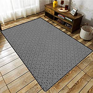 Classroom Rug,Geometric,Greyscale Circular Honeycomb Pattern and Triangles Abstract Modern Art,Machine-Washable/Non-Slip Grey Black White