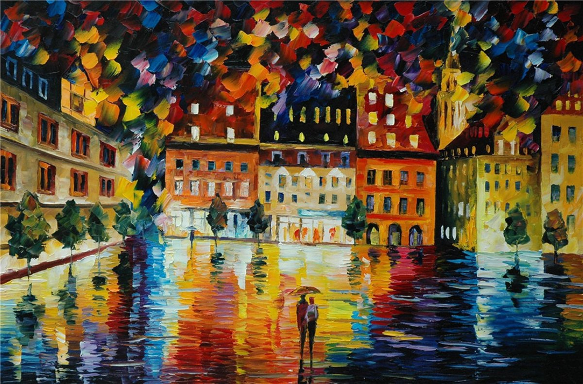 100% Hand Painted Oil Paintings Decor Abstract Modern Painting Love in Rainy Night Home Wall Decoration (36X54 Inch, Wall Arts 5)