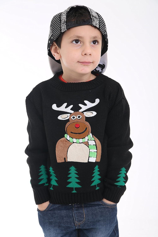 Girlzwalk Unisex Kids Baby Deer Christmas Jumper Girls Knitted Bambi Xmas Jumper