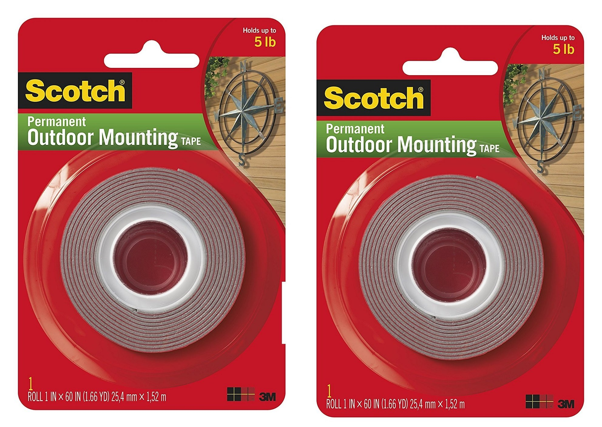3M Scotch 4011 Exterior Mounting Tape, 1 in x 60 in, 2 Tape roll