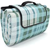 Picnic Blanket 100% Waterproof EXTRA LARGE Quality Picnic Mat Fleece with Drawstring Storage Sackpack / Shoulder Bag | Stylish Beach Blanket Tote | Great with Your Picnic Basket and Picnic Table