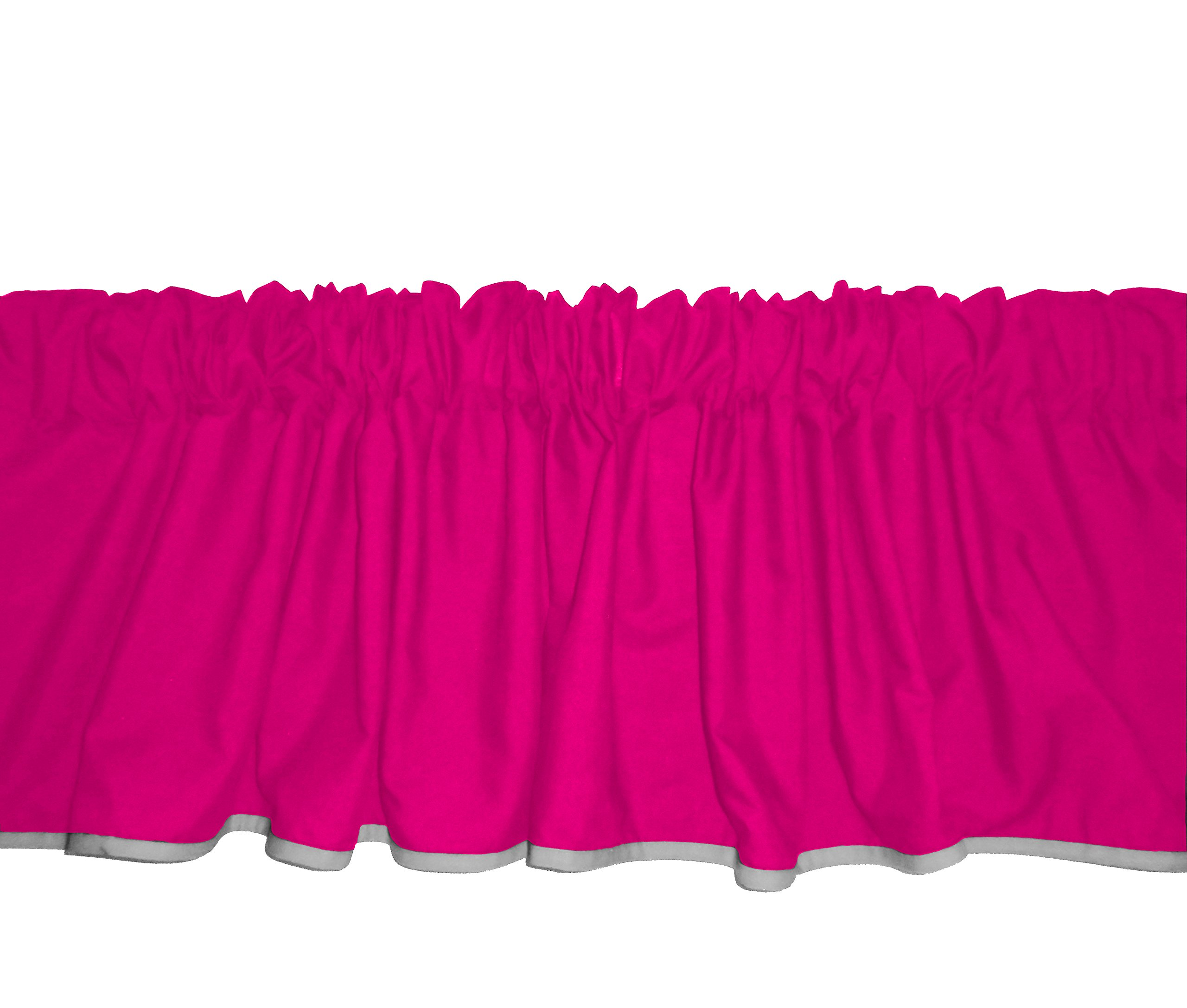 Baby Doll Bedding Solid Two tone  Window Valance, Hot Pink/Grey