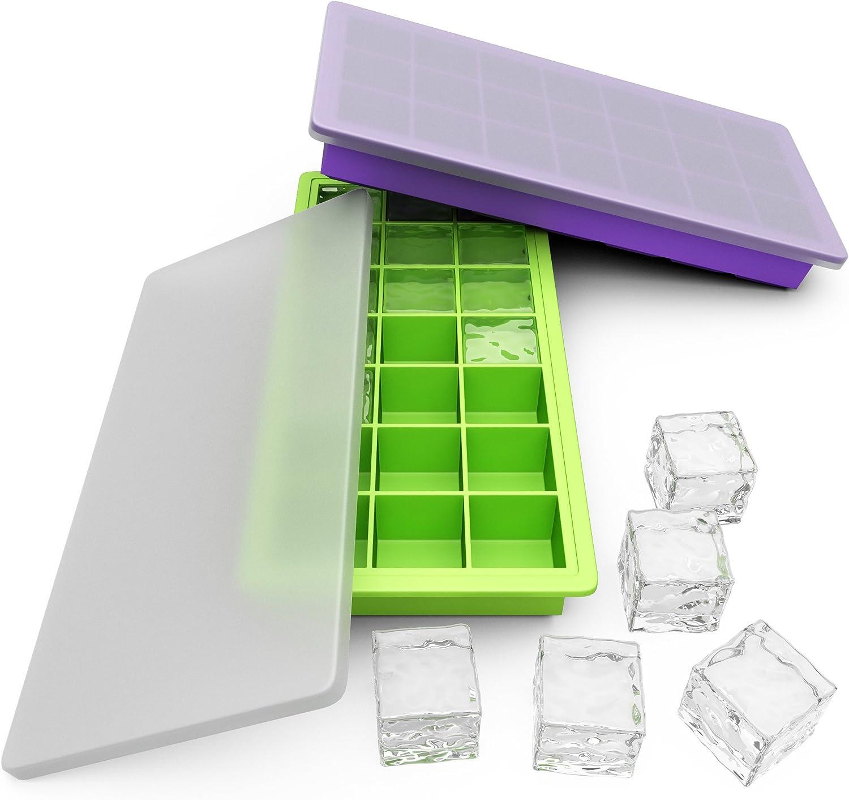 Avvio silicona Ice Cube bandejas con tapas – Set de 2 cubiertos ...