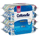Cottonelle FreshCare Flushable Cleansing Cloths, 168 Count (4 Packs x 42 Wipes) - Ripple Texture - Package Design Will Vary