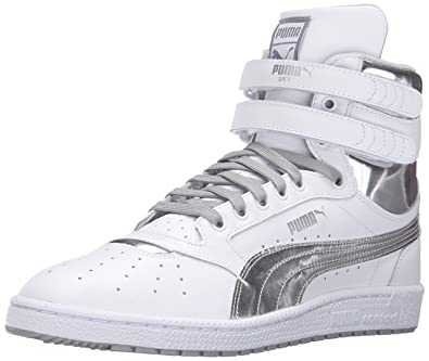 PUMA Men's Sky II Hi FG Foil Fashion Sneaker, White Silver, ...