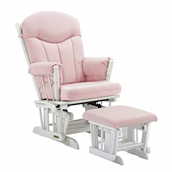 Merveilleux Shermag Glider And Ottoman, Pink Gingham