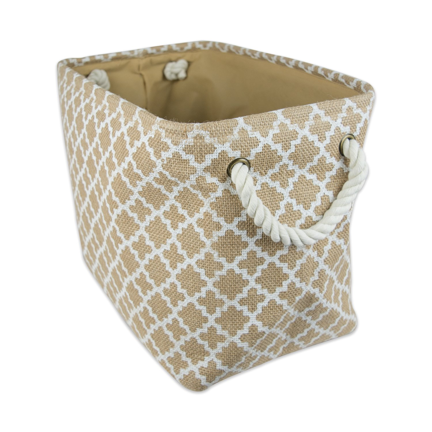 "DII Collapsible Burlap Storage Basket or Bin with Durable Cotton Handles, Home Organizational Solution for Office, Bedroom, Closet, Toys, Laundry (Large – 18x12x15""), White Lattice Outline"