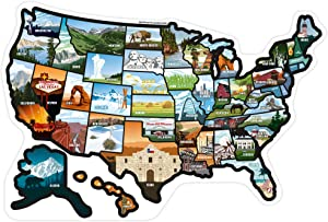 """RV State Stickers United States - Travel Camper Map RV Decals for Window, Door, or Wall ~ Includes 50 State Decal Stickers with Scenic Illustrations (19"""" x 13""""/Small) See Many Places"""